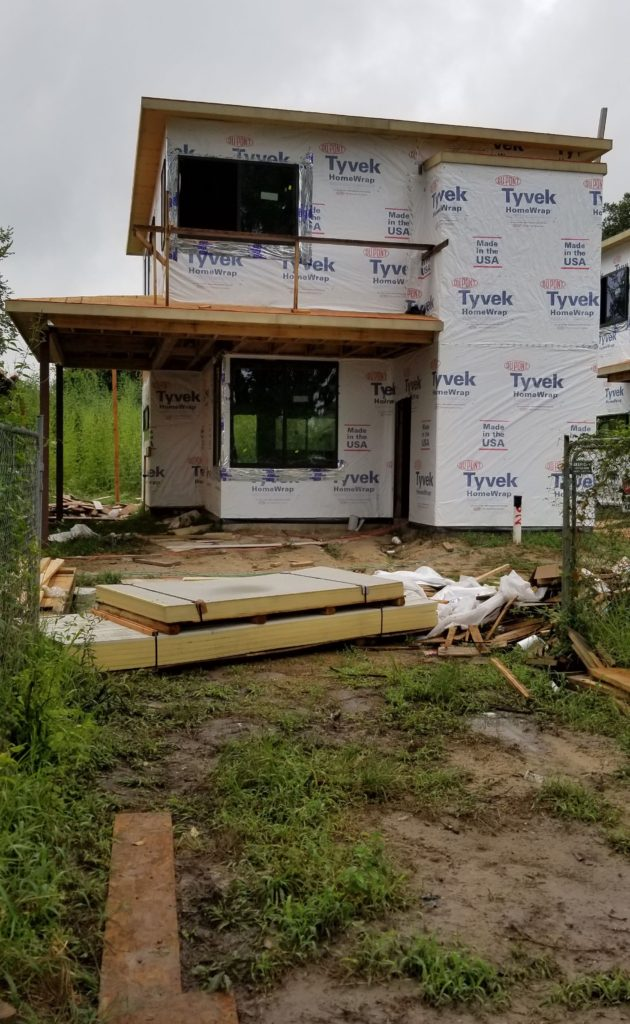 Affordable new construction Avenue home with Home Wrap for energy efficiency, waiting for Hardie Plank installation.